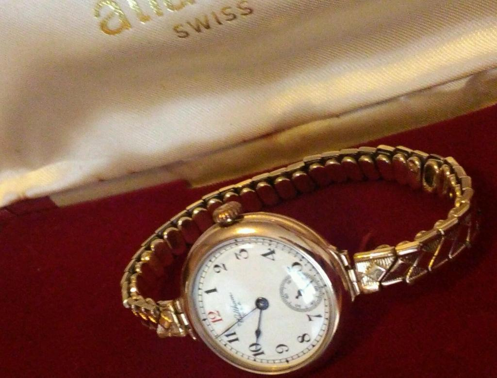Antique solid 9ct gold ladies Waltham trench watch Superior running order mint condition