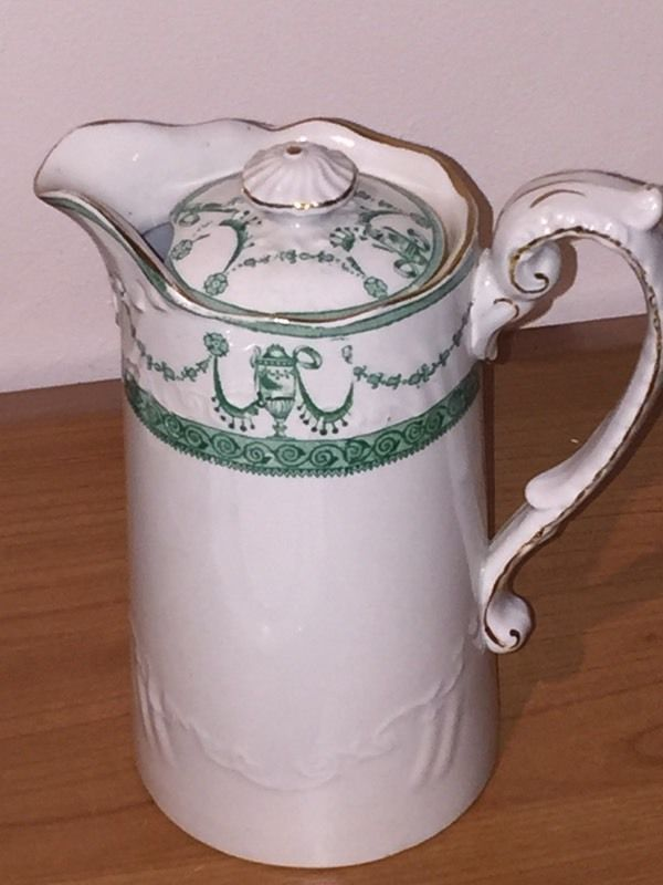 Antique green & white part tea service