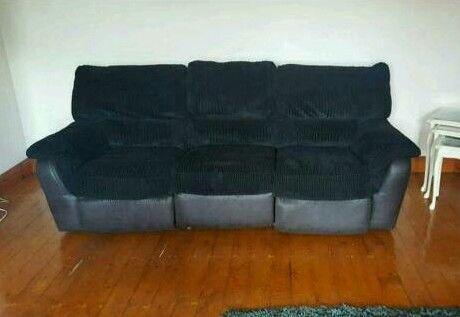 Black 3 seater with large swivel chair