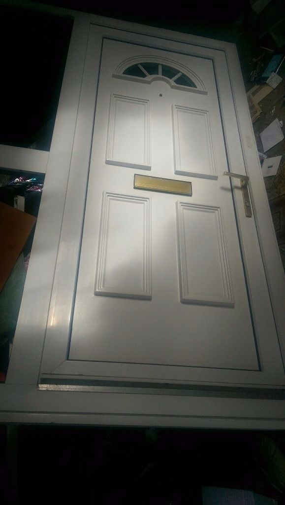 Upvc white door with side glass panel , excellent condition, 59 x 82