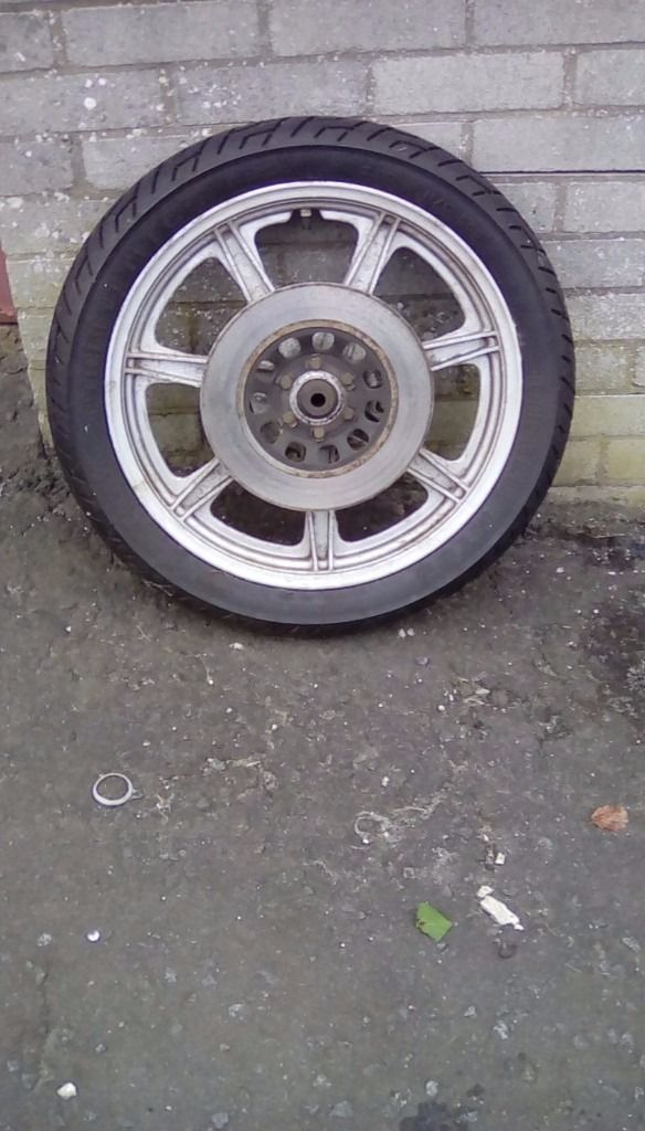 XS250 mag wheel, with disc and tyre