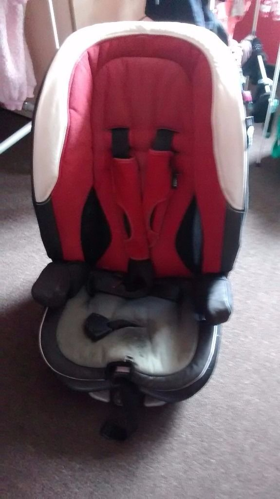 Car seat, jump leaps, petrol can, tow rope