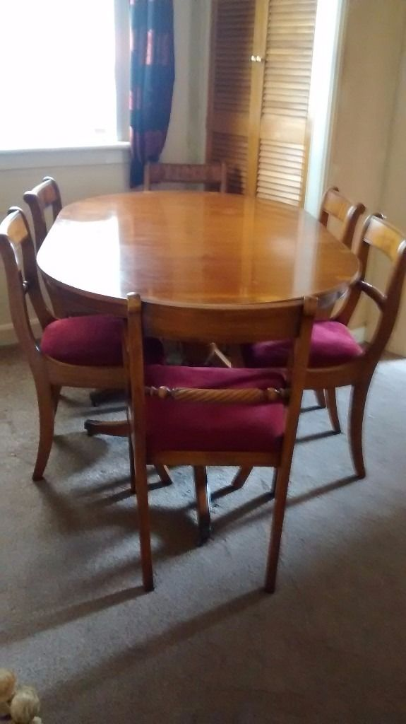 Extending Oval Dining Table, 6 Chairs, Matching Sideboard