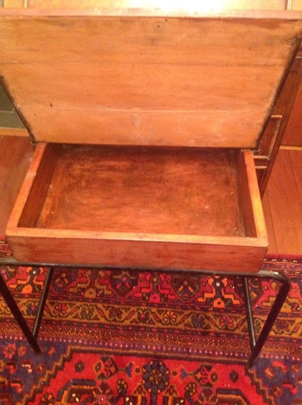 Vintage school desk with ink well