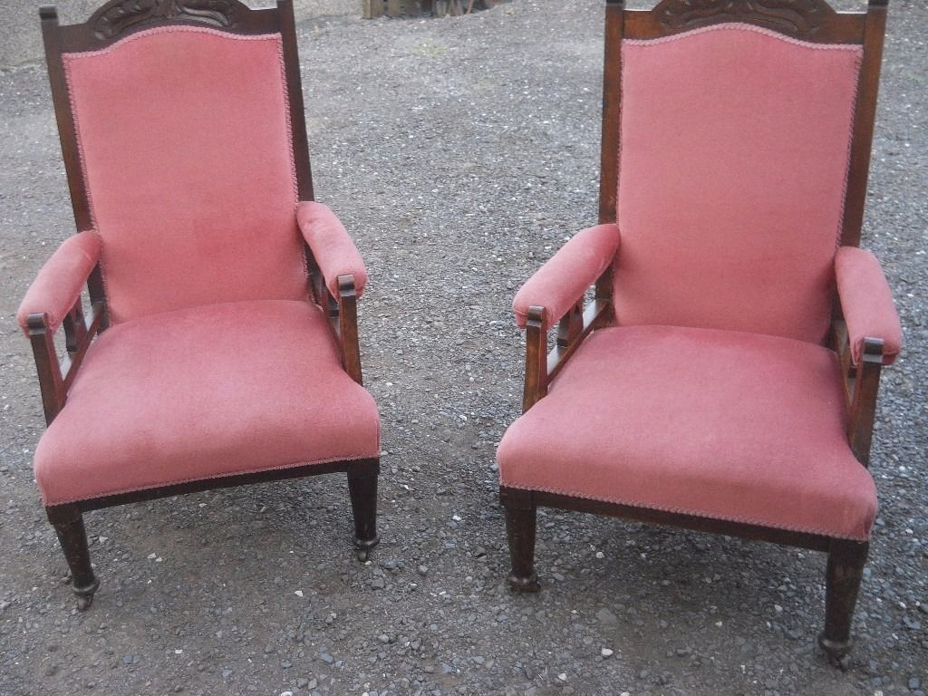 two Edwardian parlour chairs