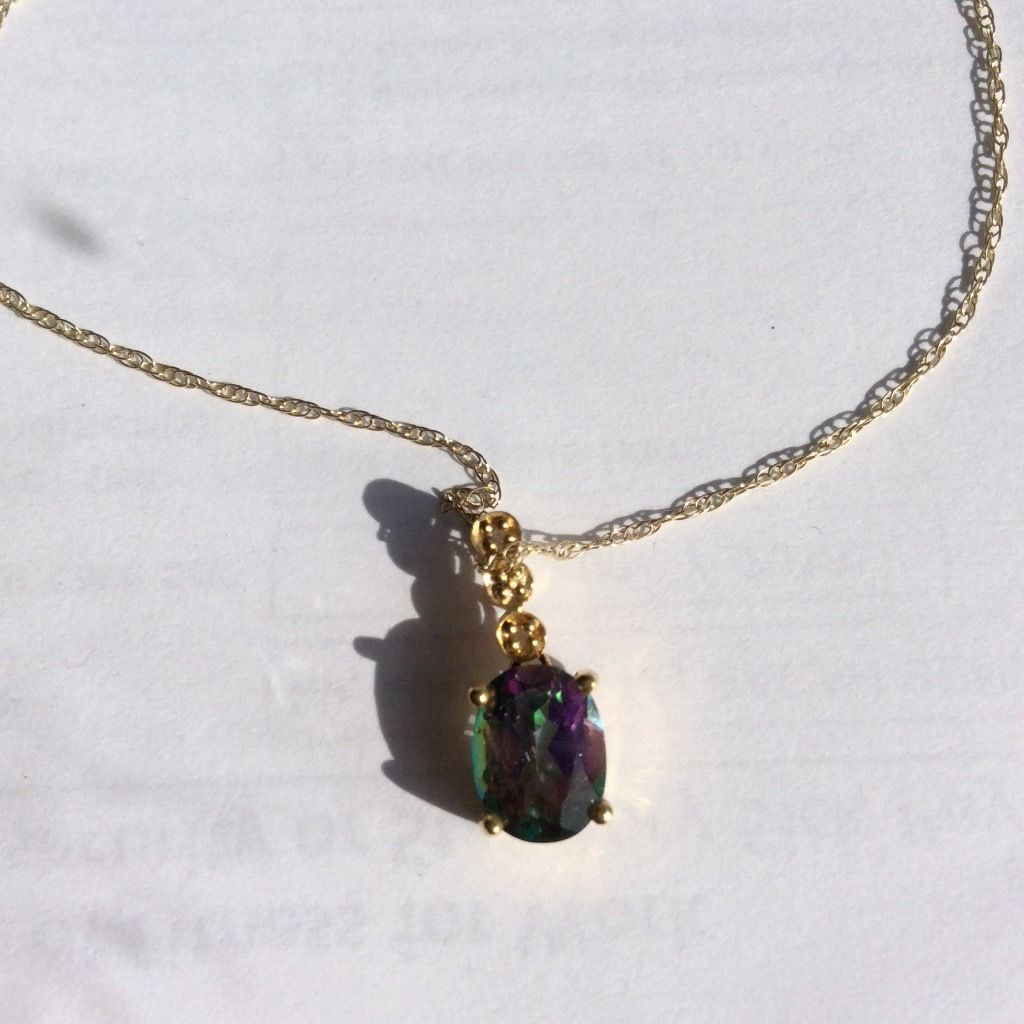 Bewitched mystic topaz 9ct gold pendant and necklace