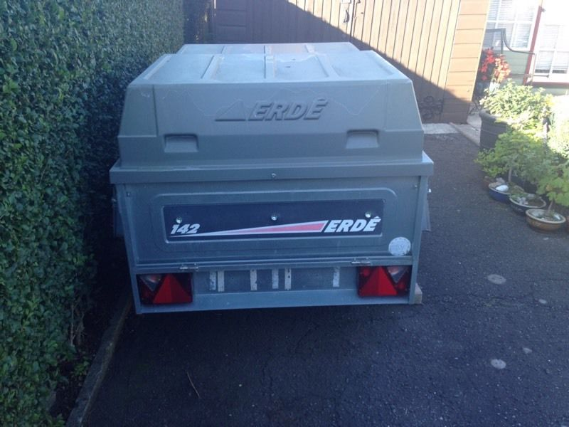 Erde 142 caddy trailer. Hard top