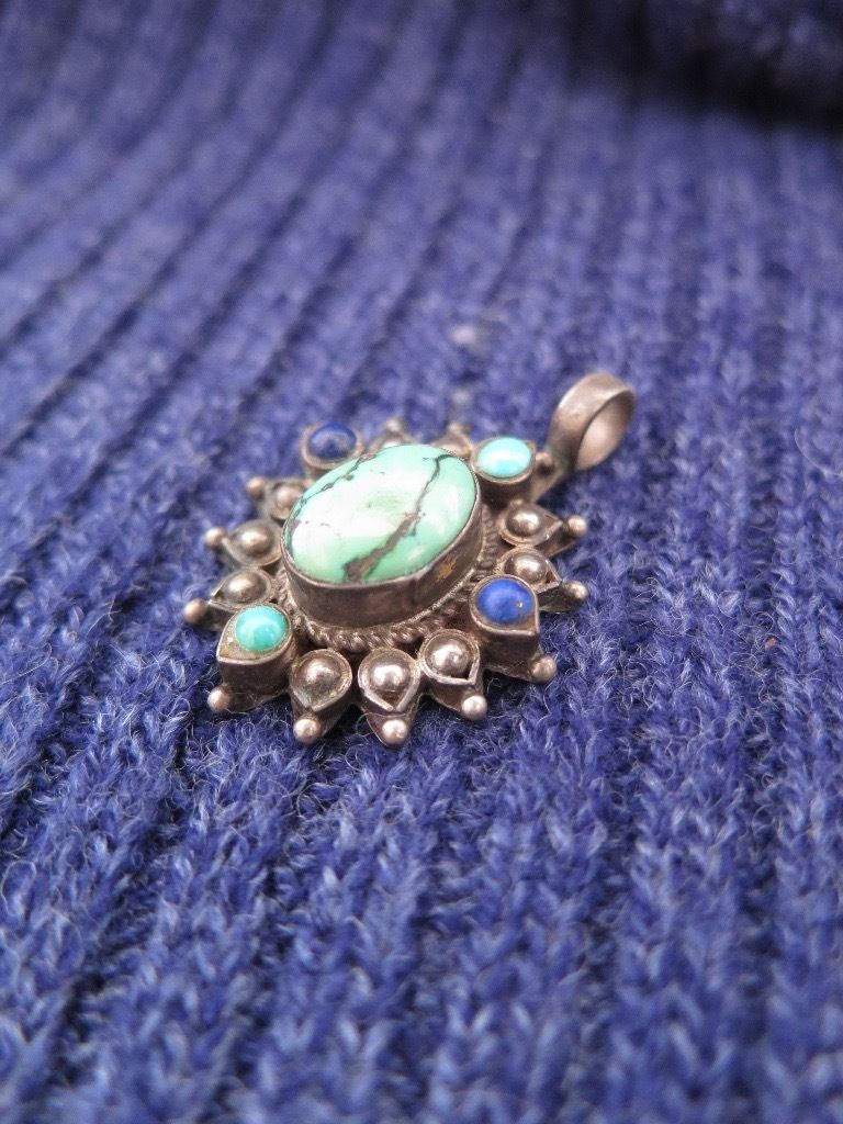 Silver pendant with real lapis lazuli and turquoise stones.