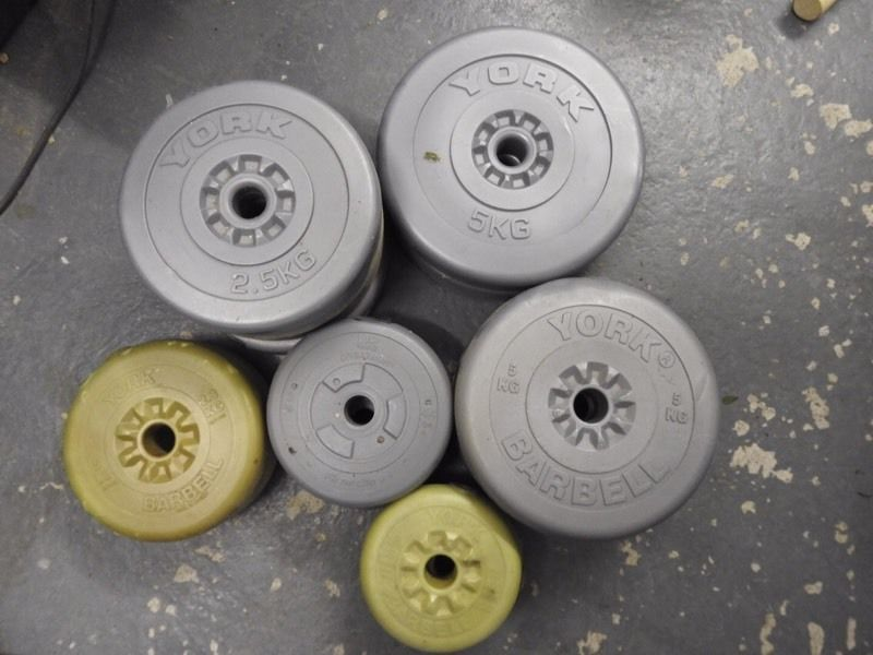Mixed set of weights with dumbbell bars and fat grips
