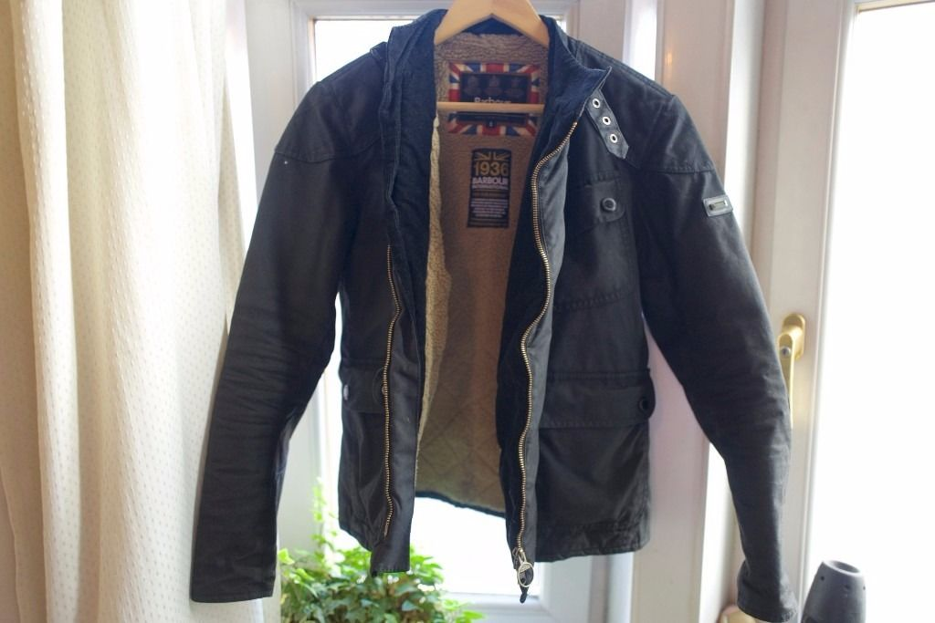 Stylish 1936 Barbour International heavy duty motorcycle wax padded jacket.
