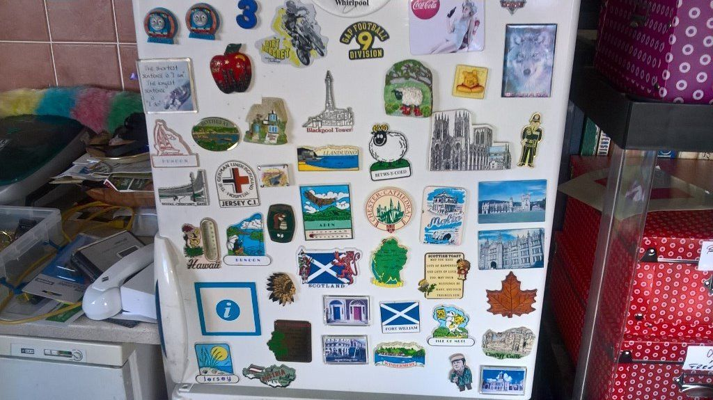 Fridge magnets..all kinds..places..buses..people etc etc..