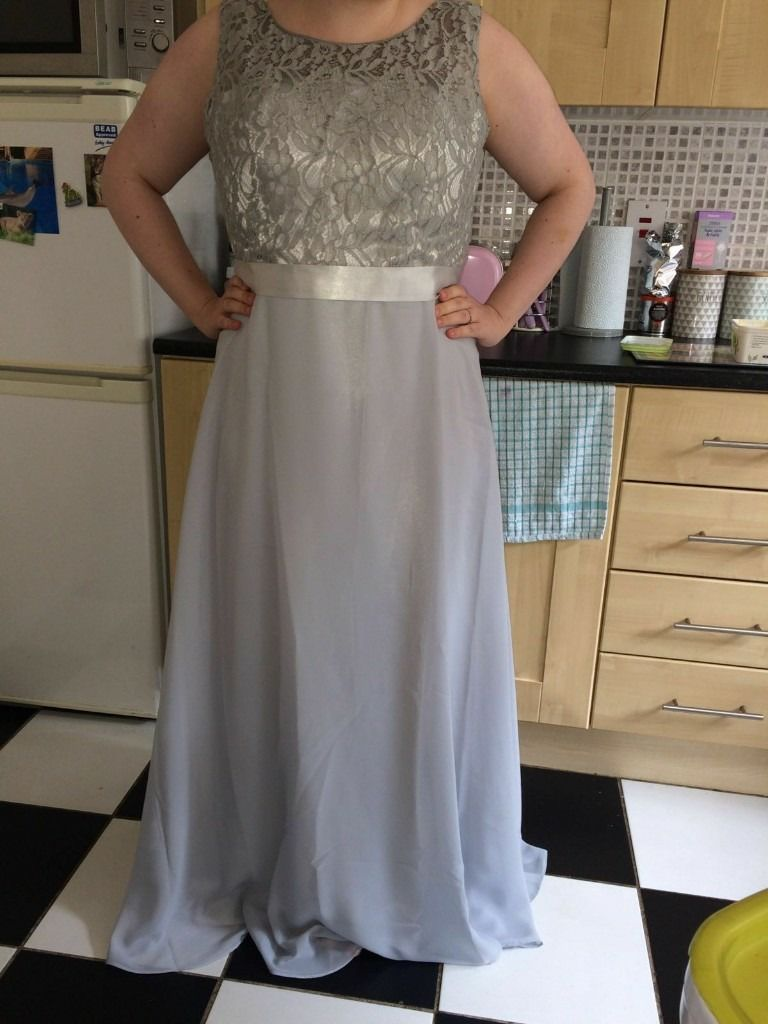 stunning silver bridesmaid dress with lace up back