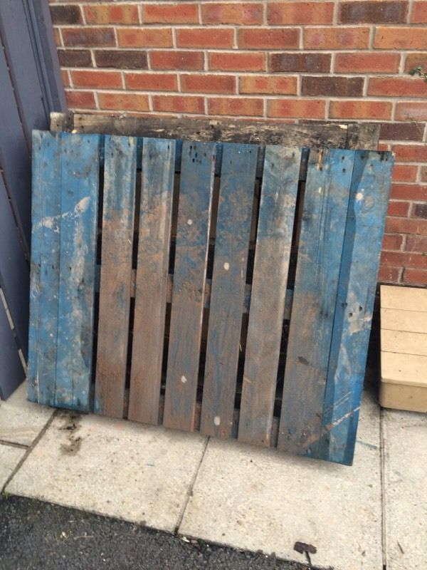 Two Wooden Blue Pallets