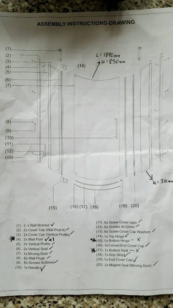 Frameless Quadrant Shower Enclosure (**missing parts**)
