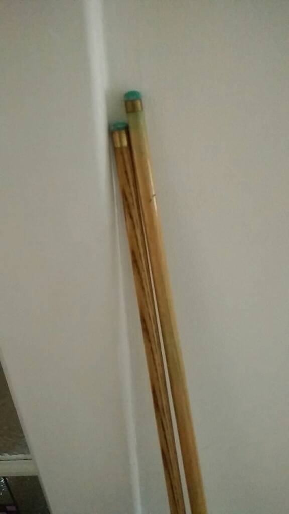 Two snooker cues