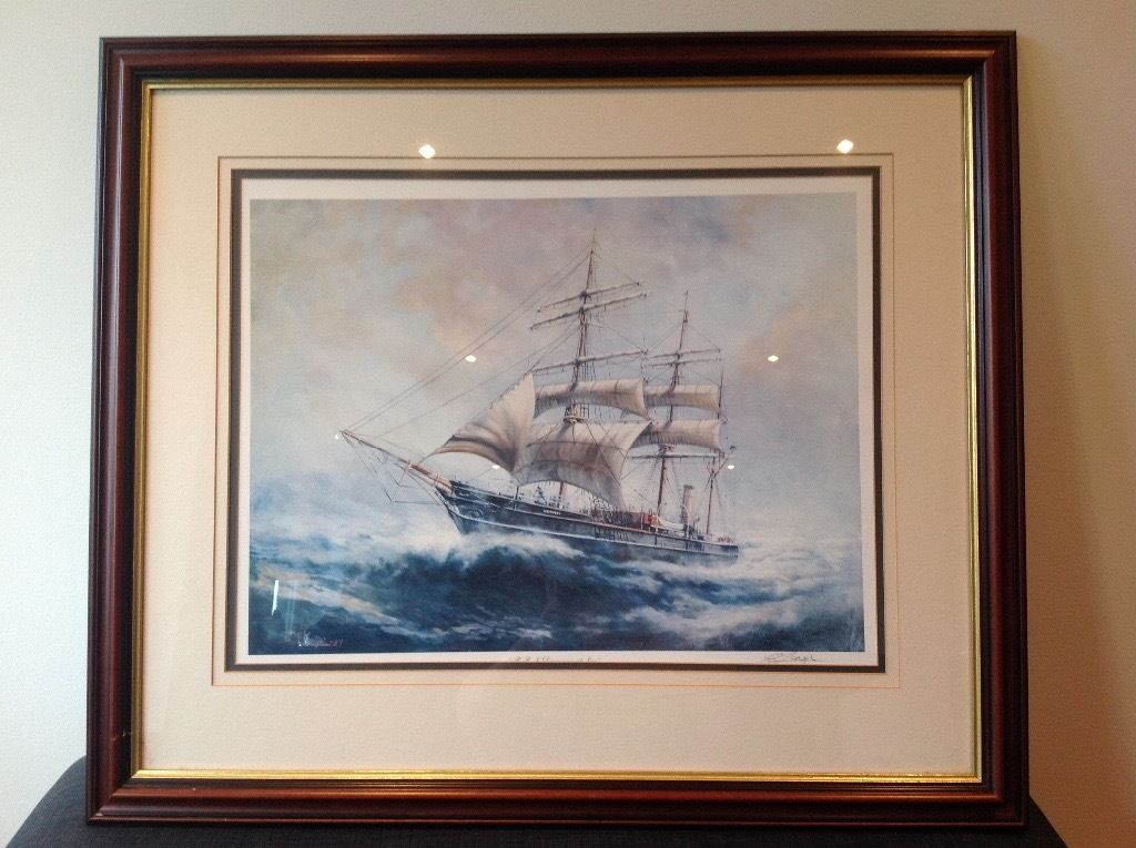 RRS Discovery at sea framed print