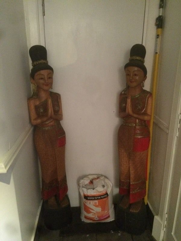 2 Solid Thai lady statues