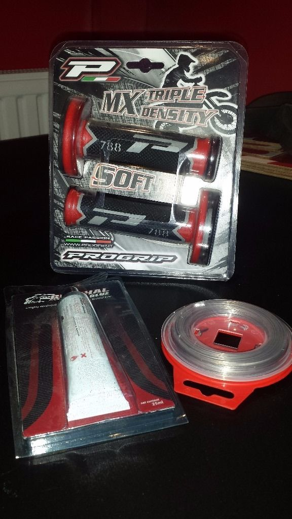 progrip grips red + grip glue + grip wire for morocross