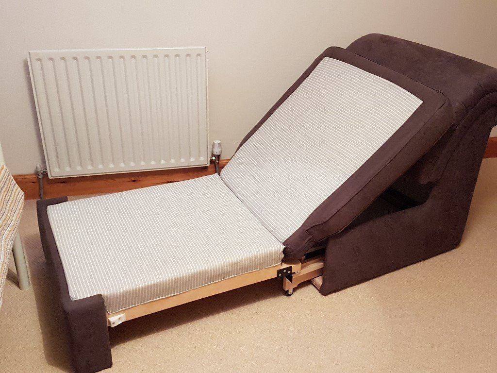 Guest Bed, Single - Folds to Smart Seat - John Lewis - Brown - Excellent Condition.