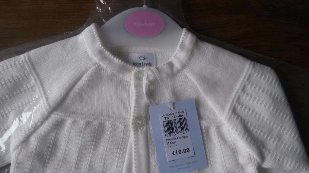 John Lewis Pointelle Cardigan & 3 Short Sleeve Bodysuits *Brand New*