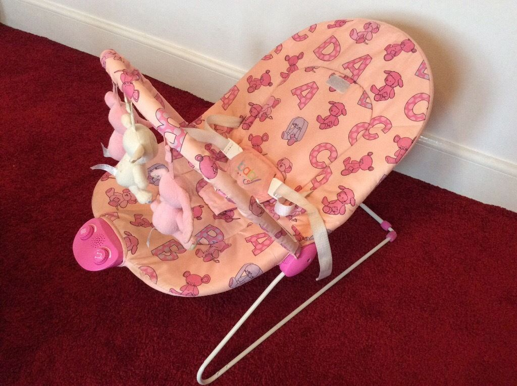 Chad Valley deluxe Pink baby bouncer with music