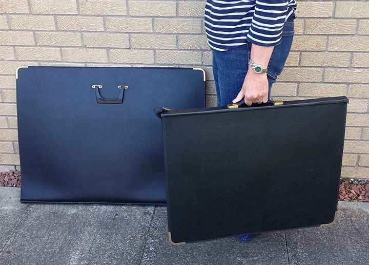 TWO PORTFOLIO CASES - A1 (Artcare) & A2 (Daler), Black, Ring-Binding, with Clear Inserts.