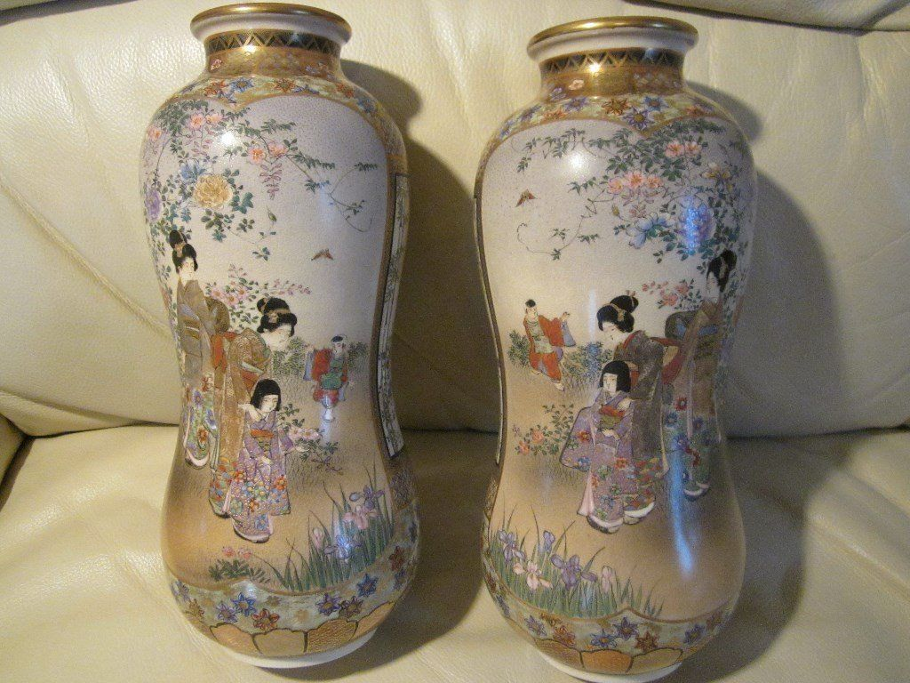 Pair Japanese Satsuma Vases c1900 by Shuzan and Chinese Cloisonne Box c1900 All VGC and Top Quality