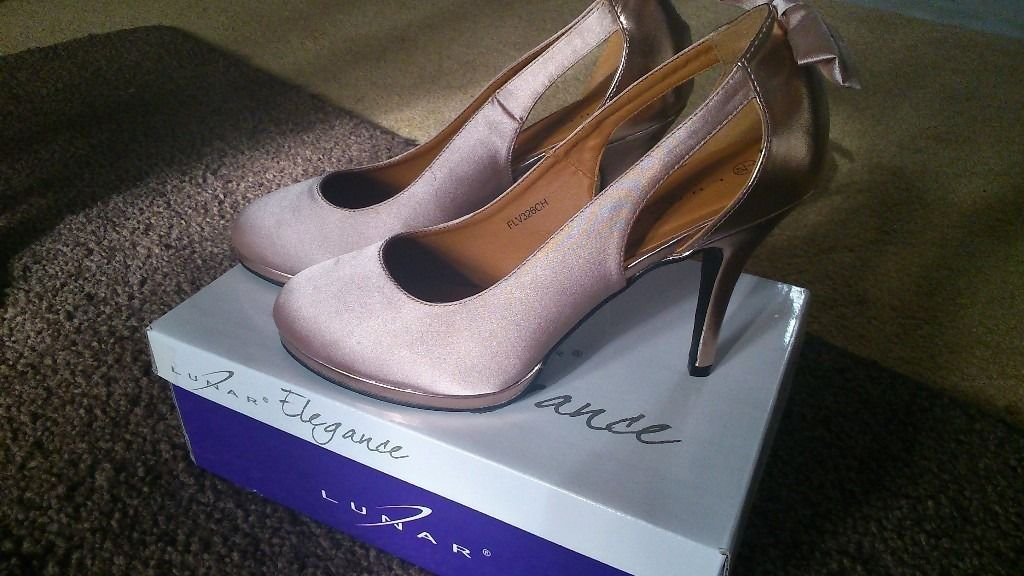 1 pair gold satin shoes size 6 NEW and Boxed by Lunar Elegance