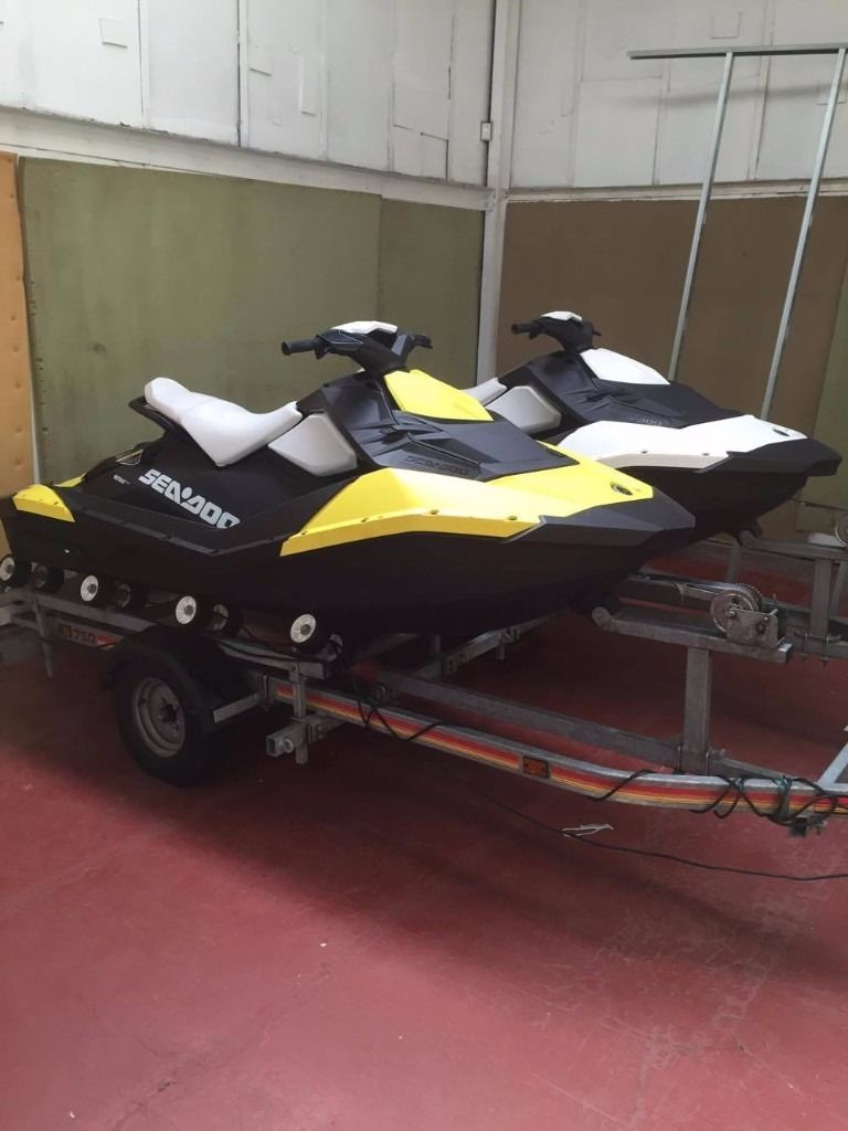 2015 Sea-Doo Sparks 2-Up Rotax 900 HO ACE iBR with twin trailer