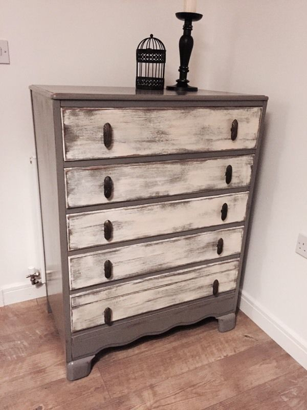 Elegant solid upcycled chest of drawers in grey and old white