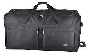 **5 Cities**Extra Large 40 Inch Wheeled Holdall Trolley Bag**Black**