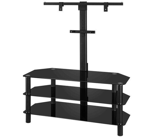 Cantilever glass TV stand swap for wooden tv unit