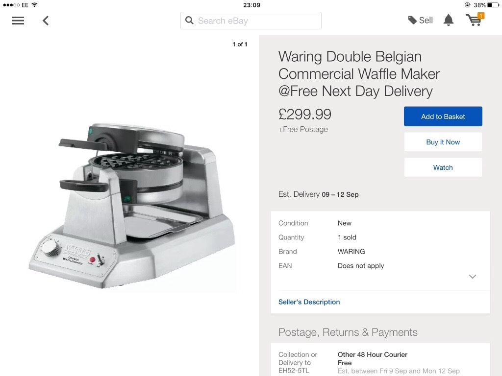 Warrings waffle machine (never used)