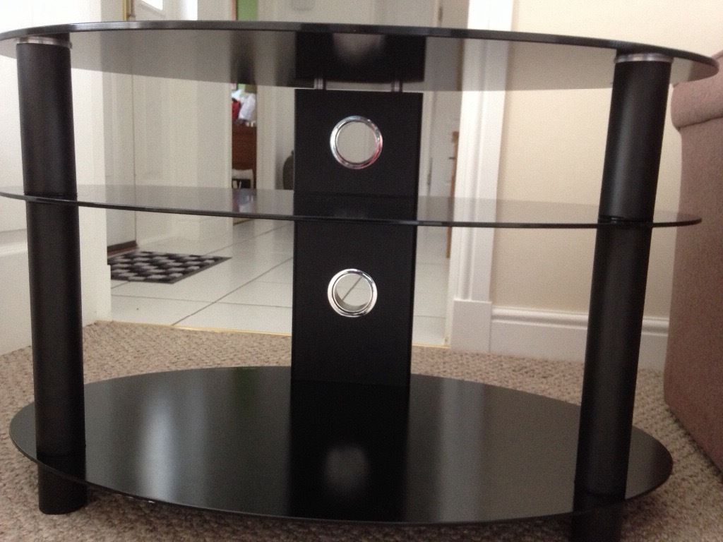 Black Safety Glass TV Stand, New Condition