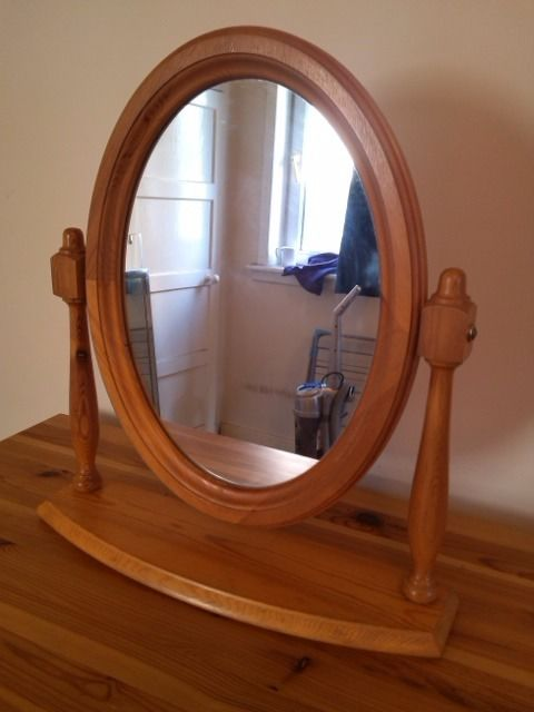 Antique Pine Oval Dressing Table Mirror