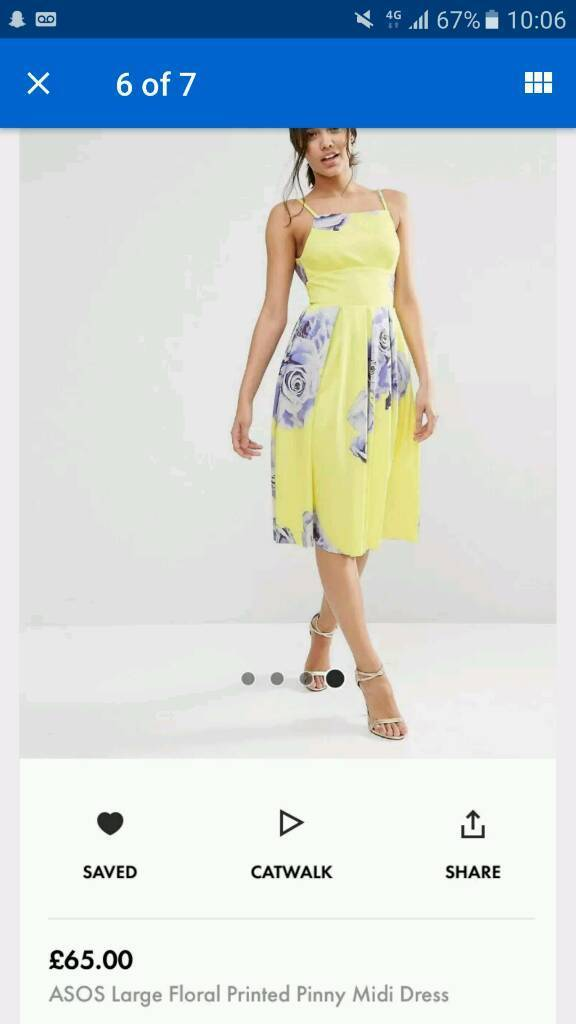ASOS Yellow Floral Pinny Dress Stunning!! Size 12