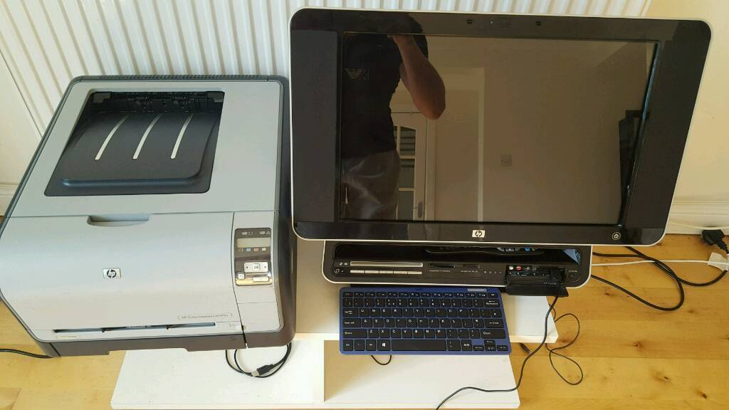 HP TOUCHSMART PC with wireless keyboard and HP laser printer