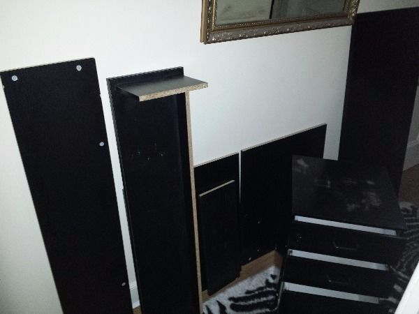 Dismantled black desk