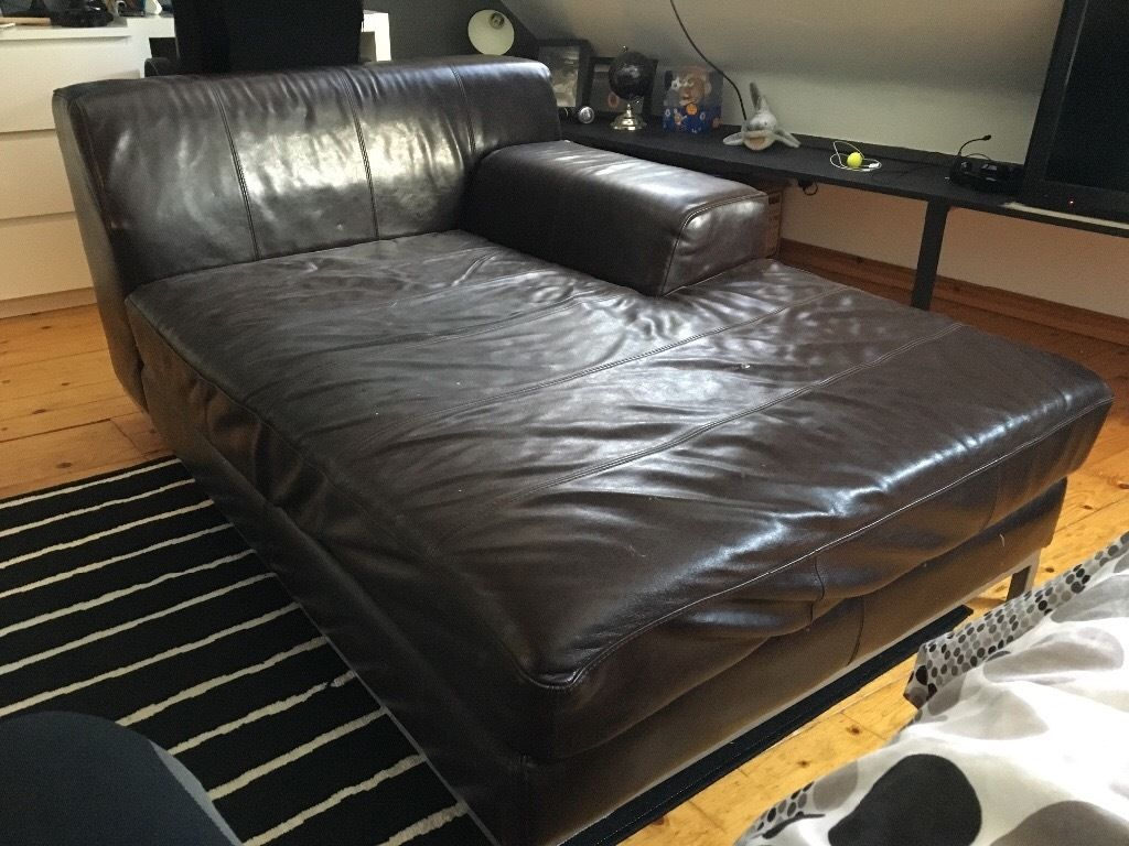 FREE. Real leather brown modern chaise/ sofa