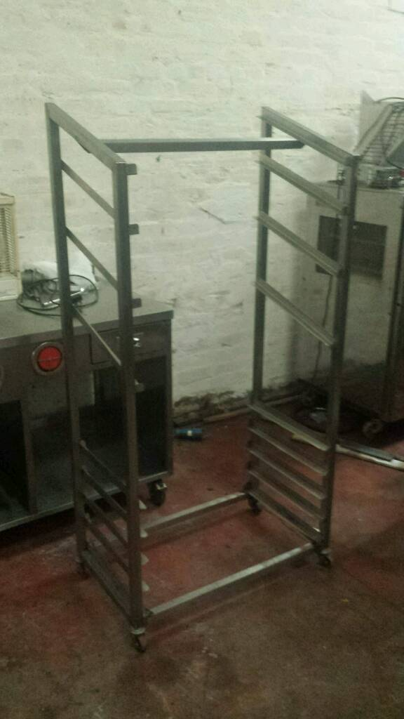 Bakery equipment. Stainless steel bakery display rack.