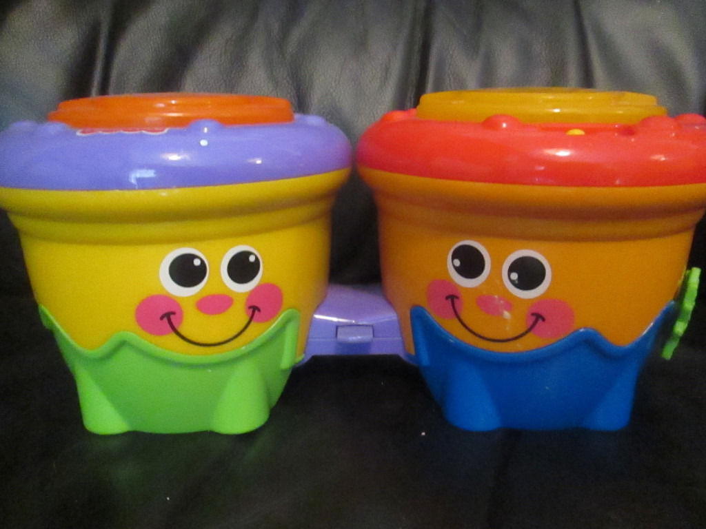 FISHER PRICE LIGHT UP WITH SOUNDS BONGO DRUMS