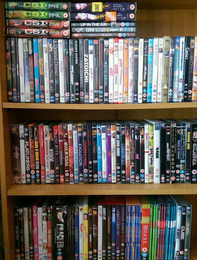 Over 100 DVDs.