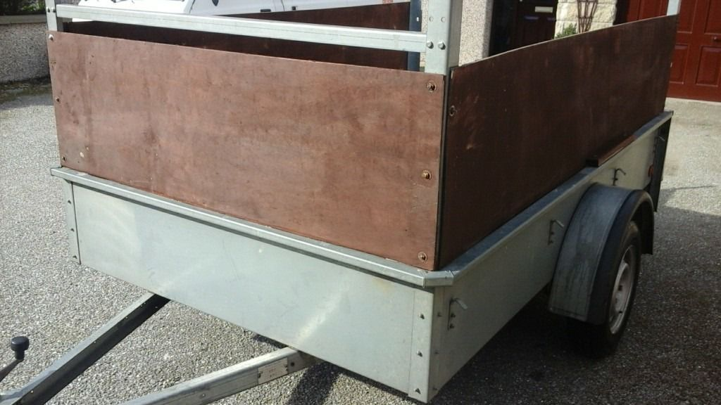 8x5 galvinised heavy duty car trailer with ladder rack and extended sides