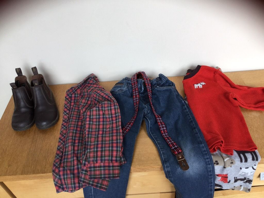 Chipmunk boots, next tartan shirt , denims with braces , pjs