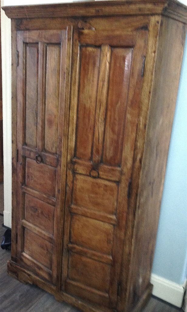 Beautiful & Unusual Large Vintage Solid Wood Cabinet With Carving Detail