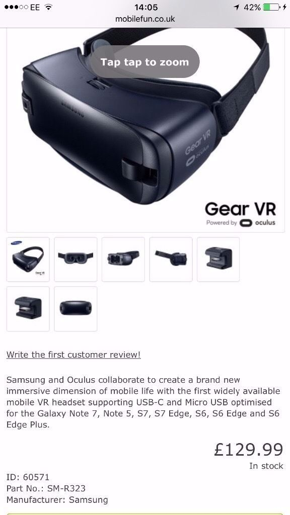 Brand New Samsung Galaxy Gear VR Black 2016 SM-R323 Compatible with Note 7 S6/S6 Edge, S7/S7 Edge