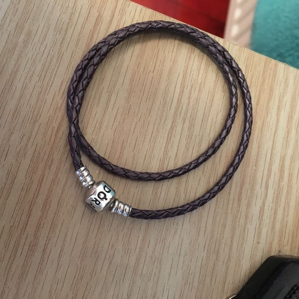 Men's Pandora double woven leather bracelet