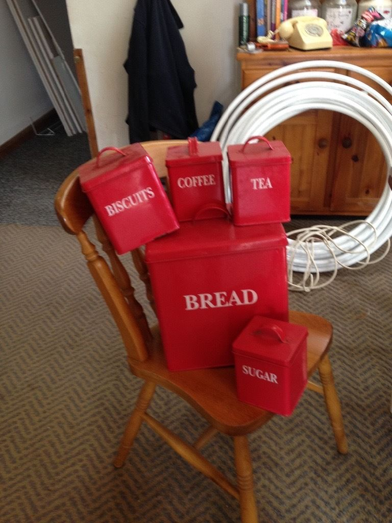 Bread ,tea coffee and sugar also biscuit tin