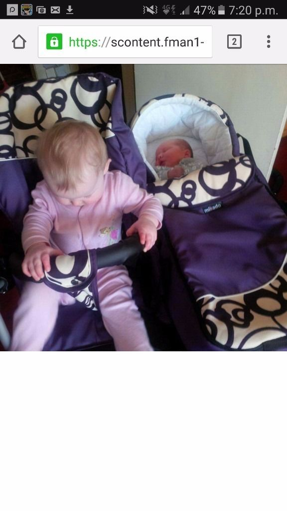 Brand new purple twin pram for sale.