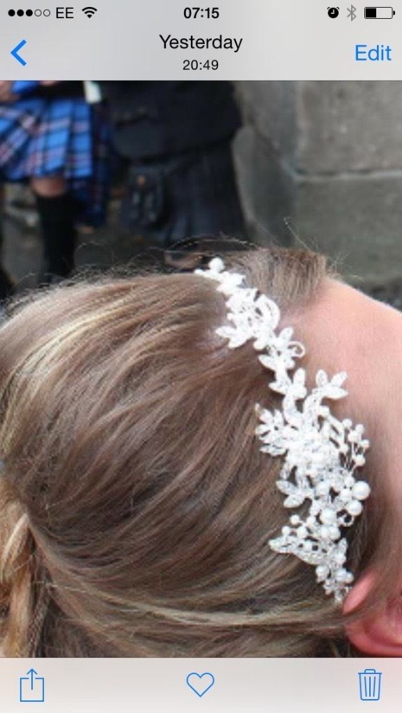Bridal head piece/band pearls and diamonds!